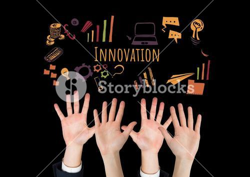 Many hands reaching with Innovation text with drawings graphics