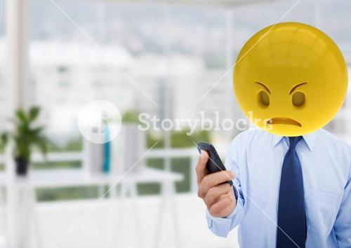 Angry business man  because a  message. Emoji face
