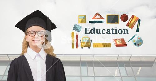 Young Girl student graduate with Education text with drawings graphics