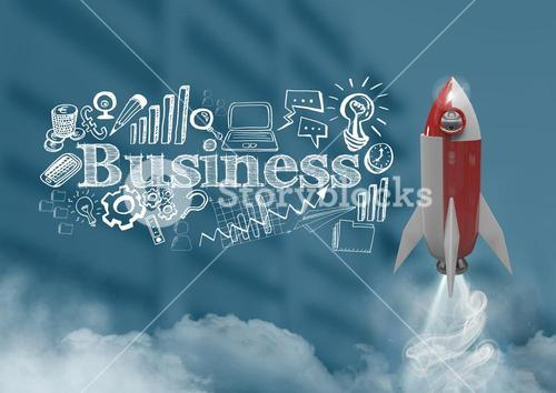 3D Rocket flying over buildings and Business text with drawings graphics
