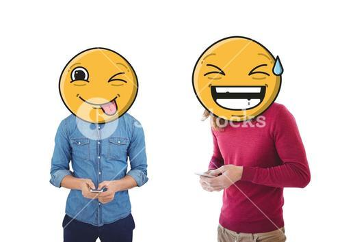 People with giant emoji faces