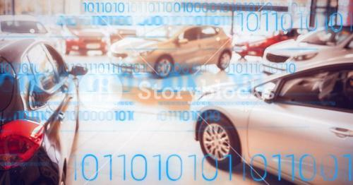 Cars on display with blue binary code