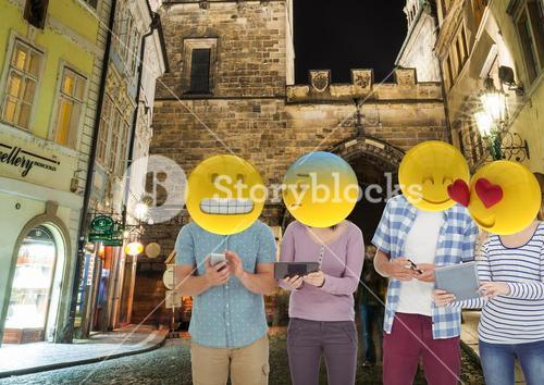 group of friends with the mobile. Emoji heads.
