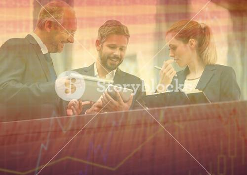 Three business people at balcony with orange chart graphic overlay