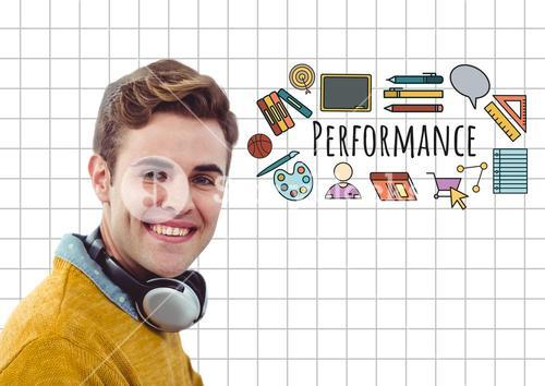 Happy man with headphones and Performance text with drawings graphics
