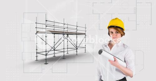Architect woman besaide 3D scaffolding with blueprint background