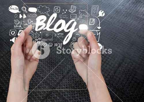 Hand holding glass tablet with Blog text with drawings graphics