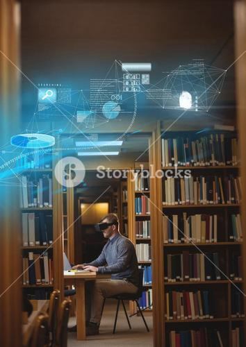 Man in library wearing VR Virtual Reality Headset with Interface