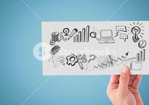 Hand holding card with business graphics drawings