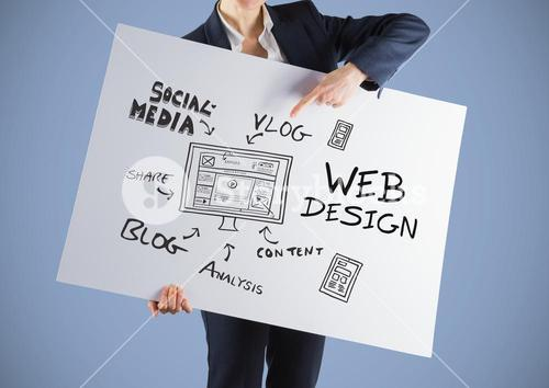 Businesswoman holding card  with social media design graphics drawings