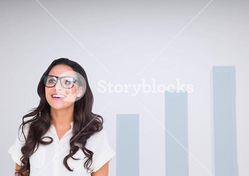 Woman with glasses happy against charts incrementing