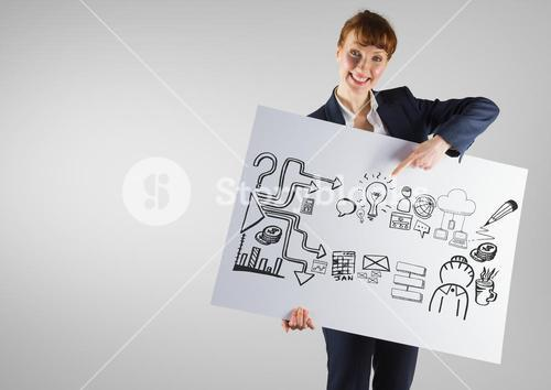 Businesswoman holding card with ideas business graphics drawings