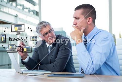 Digital composite image of executives with icons and laptop at desk