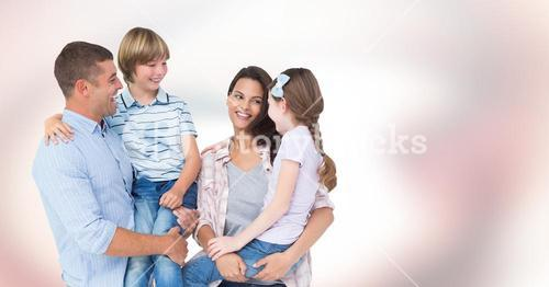 Happy family against bright background