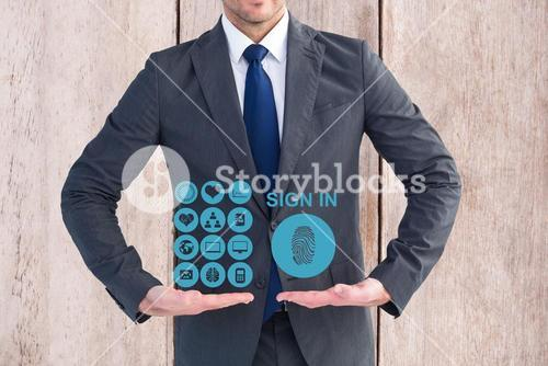 Digital composite image of businessman presenting medical icons