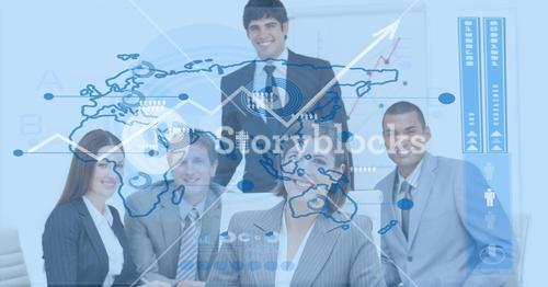Digital composite image of business people with  world map