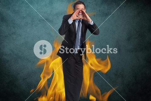 Angry businessman with fire