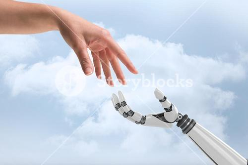Digital composite image of human and robot hands