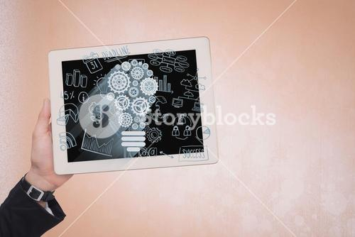 IOT graphics on digital tablet held by business person