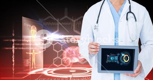 Digital composite image of doctor showing digital tablet against medical background