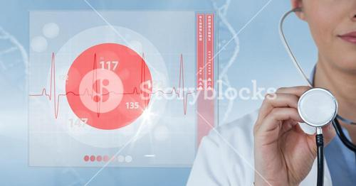 Digital composite image of doctor holding stethoscope by pulse trace