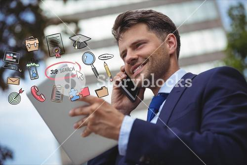 Happy businessman using smart phone and digital tablet with various job search icons