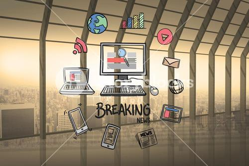 Digital composite of computer and breaking news surrounded with various icons