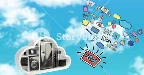 3d image of various appliances and icons in sky