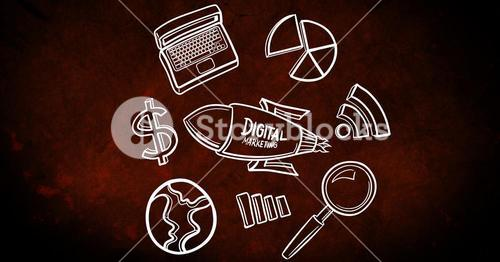 Digital marketing icon surrounded with various symbols on dark background