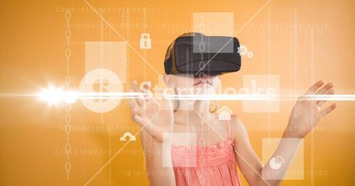 Girl looking at various icons through VR glasses