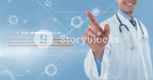 Doctor touching icons on futuristic screen