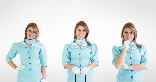Multiple image of smiling female doctor against white background