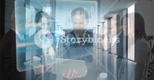 Digital composite image of business people using laptop with icons in office