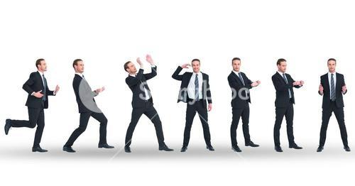Multiple image of businessman doing various gestures on white background