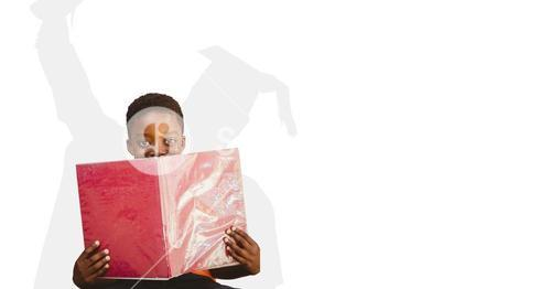 Digitally generated image of child holding book with shadow of graduate student in background