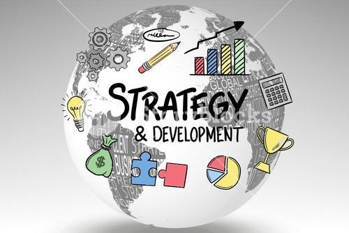 Icons surrounding strategy and development text on globe