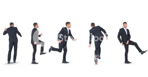 Multiple image of businessman in various poses