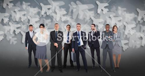 Digital composite image of multi ethnic business people with airplane background
