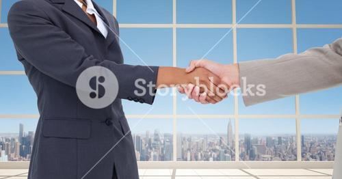 Cropped image of business people doing handshake in office