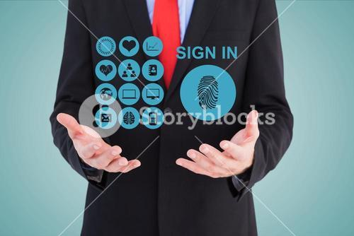 Midsection of businessman with sign in icons