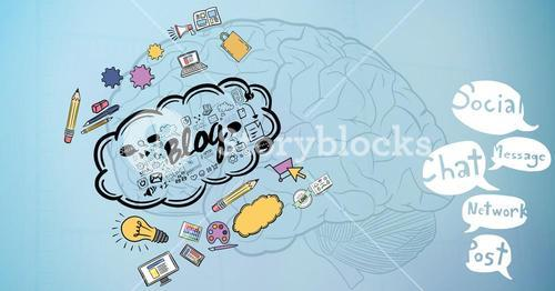 3d image of brain with various icons and speech bubbles
