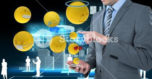 Digital composite image of businessman using smart phone with various emojis