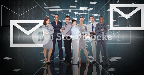 Digital composite image of business people with message icons