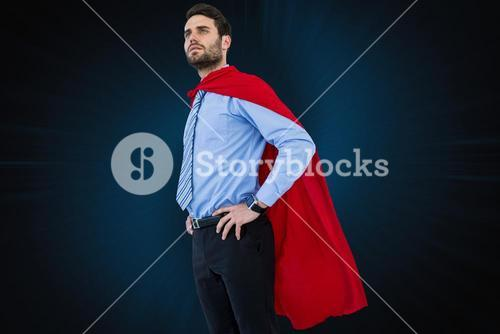 Businessman wearing  super hero cape
