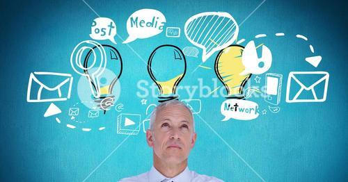 Digital composite image of businessman with idea icons