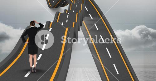 Digital composite image of businesswoman with wavy roads