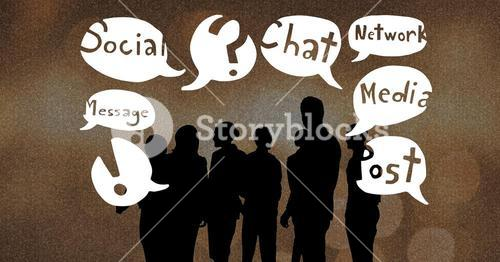 Silhouette people with chat bubbles
