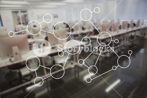 Molecule structure on glass in office