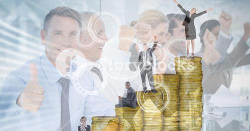 Digitally generated image of business people on coins with employees in background