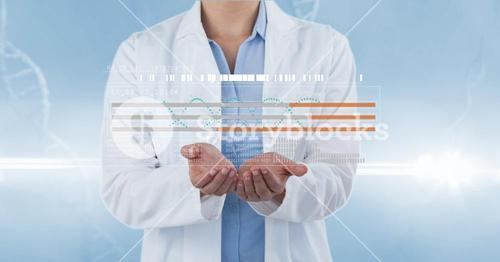 Doctor with futuristic DNA symbol